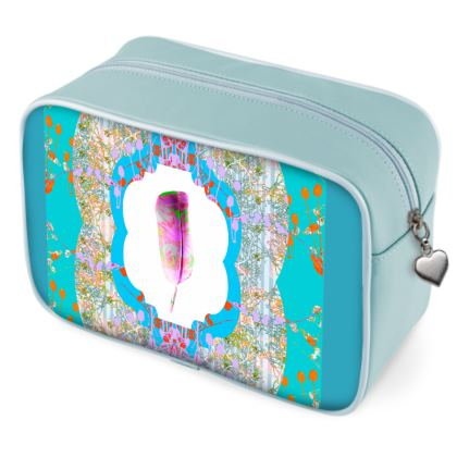 Blue Feather Wash Bag
