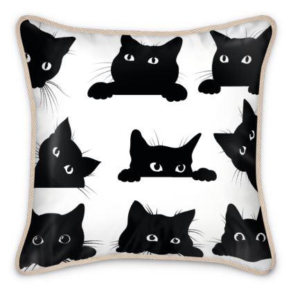Silk Cushions Curious Cats