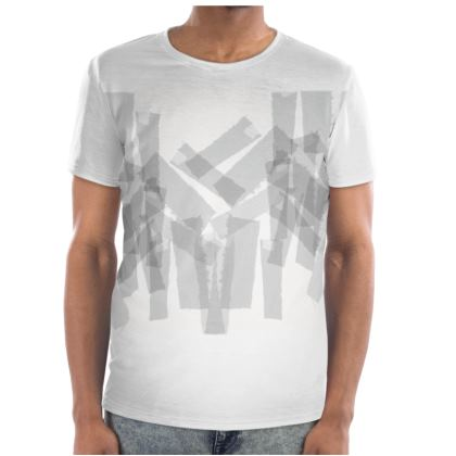 Mens Cut and Sew  Graphic fabric scraps T Shirt