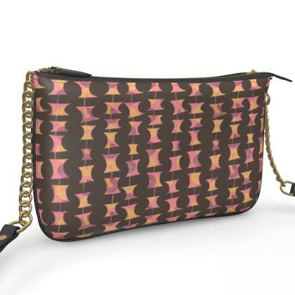 Leather Pochette zip handbag in geometric Abacus pattern