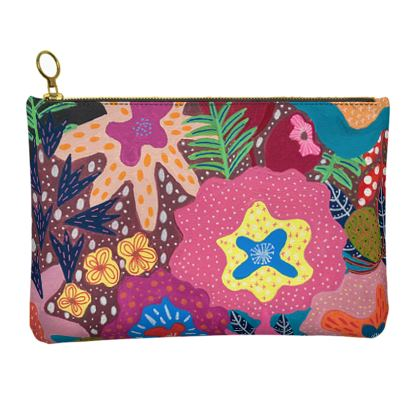 Leather Clutch Bag Secret Garden hand painted floral abstract