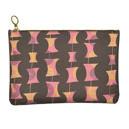 Leather Clutch Bag in Abacus geometric pattern
