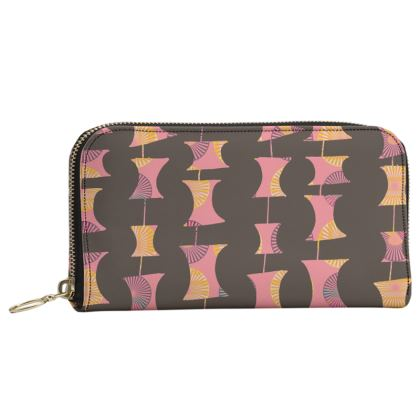 Leather Zip Purse in Abacus geometric pattern
