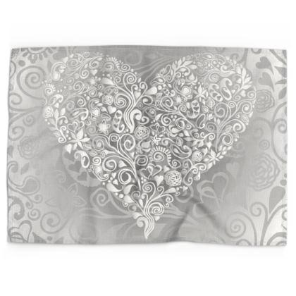 Love Heart Pattern Tea Towel