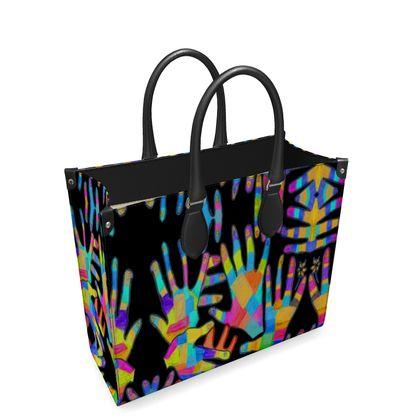 Hands Leather Shopper Bag by Elisavet