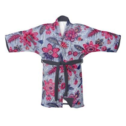 Traditional Silk Kimono Grey Vintage Floral Print