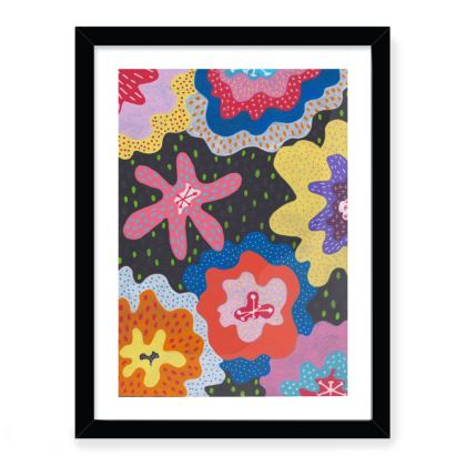 Framed art print Stargazy hand painted abstract