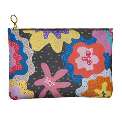 Leather Clutch Bag Stargazy hand painted abstract pattern