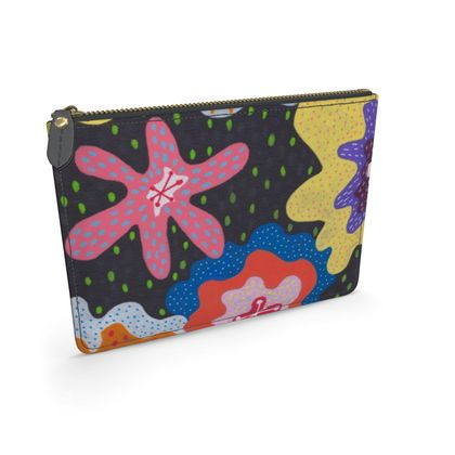 Leather Pouch Stargazy hand painted abstract pattern