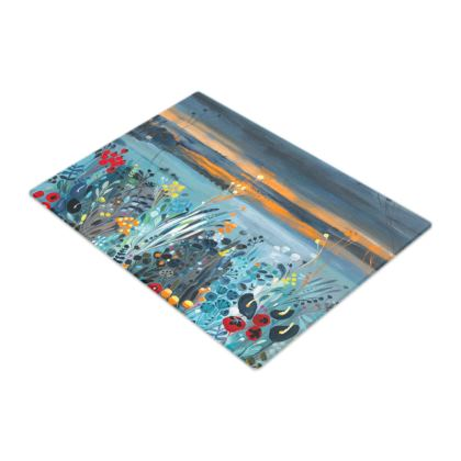 Glass Chopping Board in Natalie Rymer Setting Sun design