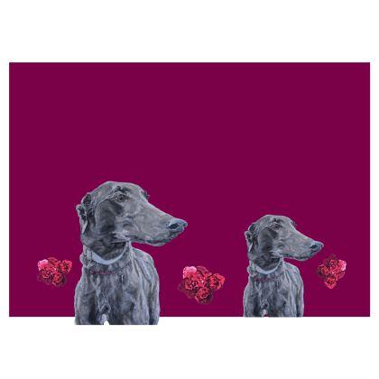 Lark the Greyhound Fine Art Print Skirt by Somerset (UK) Artist and Designer Amanda Boorman