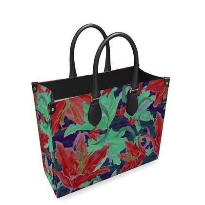 Leather Shopper Bag  Lily Garden  Jubilant