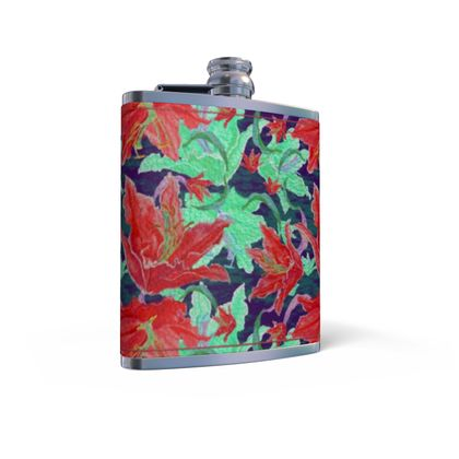 Leather Wrapped Hip Flask  Lily Garden  Jubilant