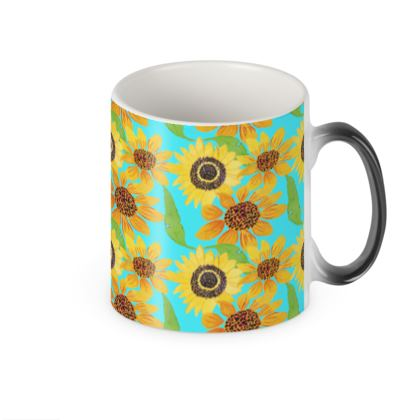 Naive Sunflowers On Turquoise Heat Changing Mug