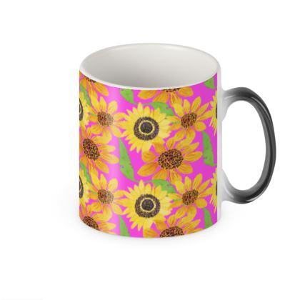 Naive Sunflowers On Fuchsia  Heat Changing Mug