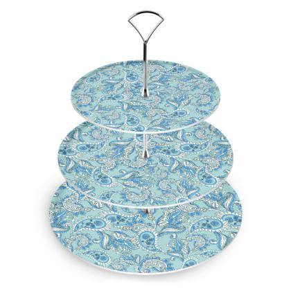 BLUE PAISLEY Cake Stand