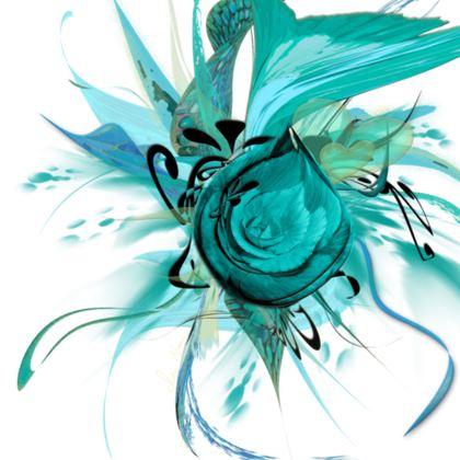 Tunic, T Shirt Dress – Tunika, T-shirt klänning - Turquoise White