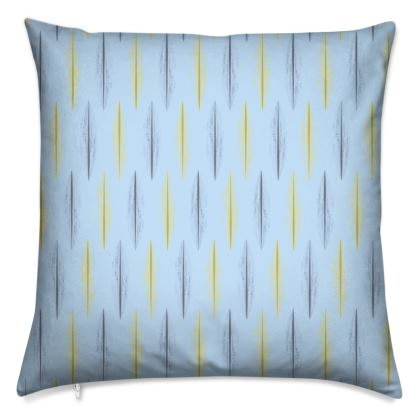 Yellow Grey Feather Pattern [ON LIGHT BLUE]