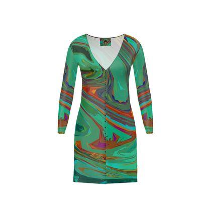 Short Ladies Cardigan - Abstract Diesel Rainbow 2