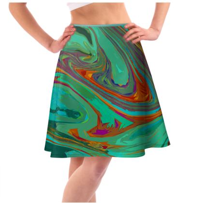 Knee Length Flared Skirt - Abstract Diesel Rainbow 2