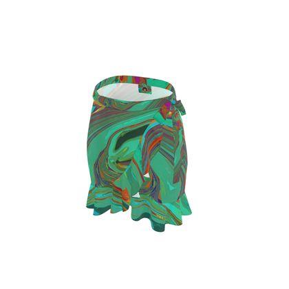 Short Flounce Skirt - Abstract Diesel Rainbow 2