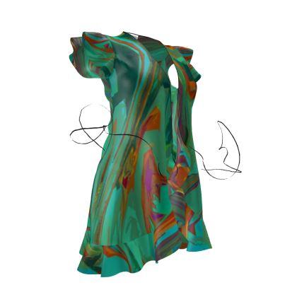 Tea Dress - Abstract Diesel Rainbow 2