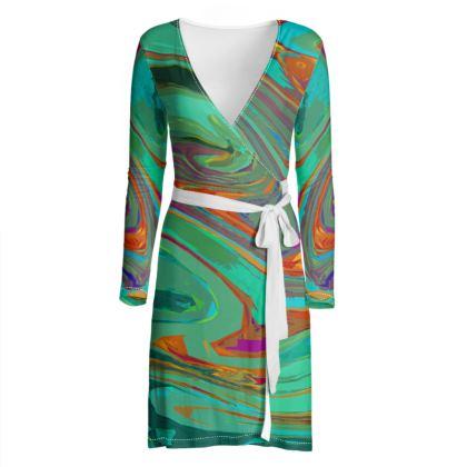 Wrap Dress - Abstract Diesel Rainbow 2