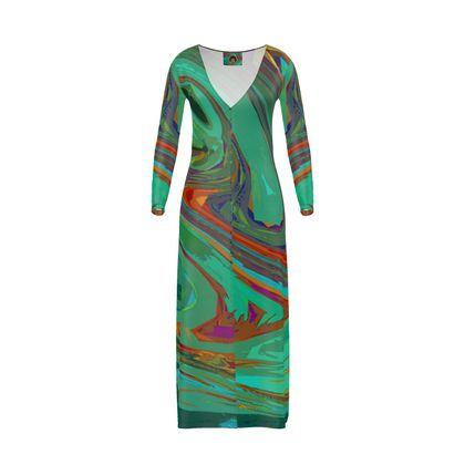 Long Ladies Cardigan - Abstract Diesel Rainbow 2