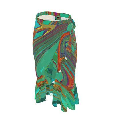Long Flounce Skirt - Abstract Diesel Rainbow 2