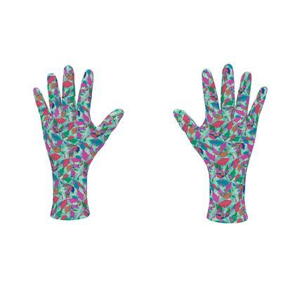 Fleece Gloves  Diamond Leaves  Blue Rosehip
