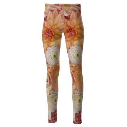 High Waisted Leggings in Orange Floral Dahlia Design