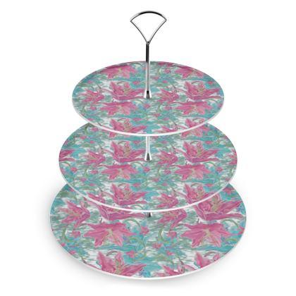 Cake Stand Pink,Teal  Flower  Lily Garden  Secrets