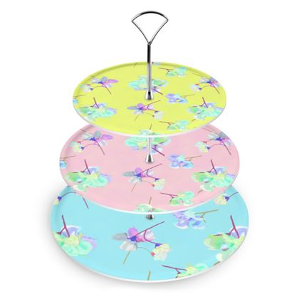 Cake Stand  My Sweet Pea  Treat in Turquoise, soft pink, in Yellow