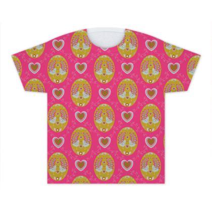 Hot Pink Folk Birds Kids T Shirt