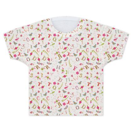 Cupcake Market Folk Alphabet Kids T Shirt