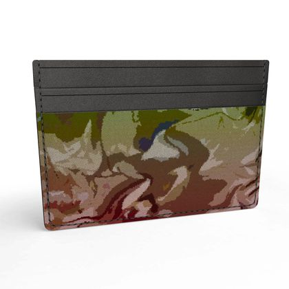 Leather Card Holder - Honeycomb Marble Abstract 2