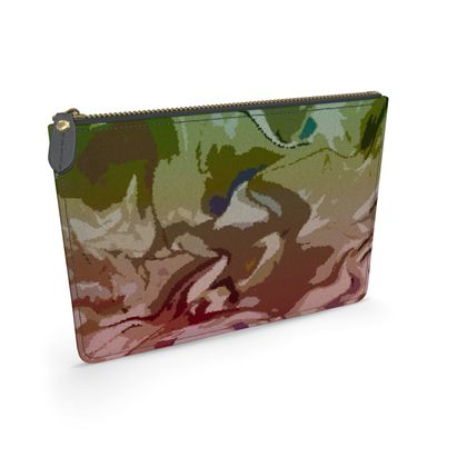 Leather Pouch - Honeycomb Marble Abstract 2