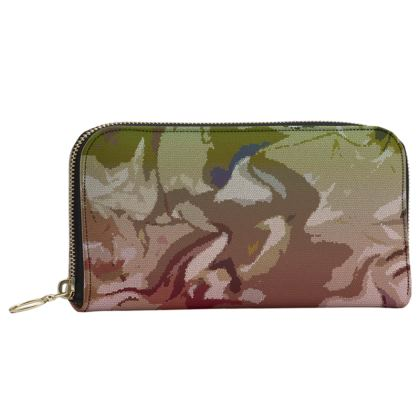 Leather Zip Purse - Honeycomb Marble Abstract 2