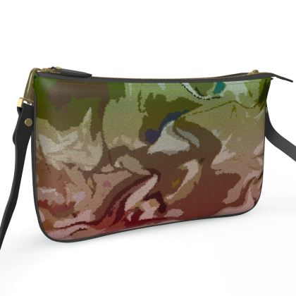 Pochette Double Zip Bag - Honeycomb Marble Abstract 2