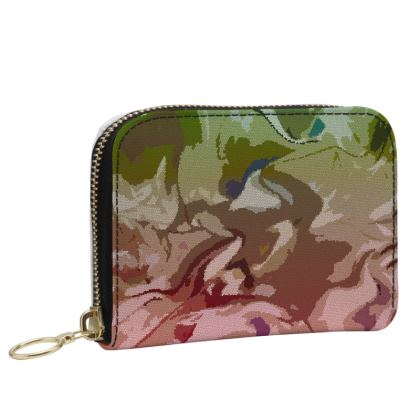 Small Leather Zip Purse - Honeycomb Marble Abstract 2