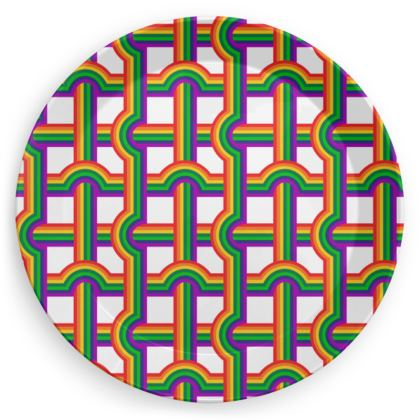 Rainbow Grid pattern party plates set of 4