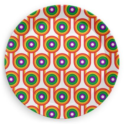 Rainbow pattern party plates set of 4
