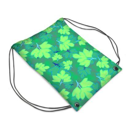Drawstring PE Bag  Oriental Leaves  Leaves on Green