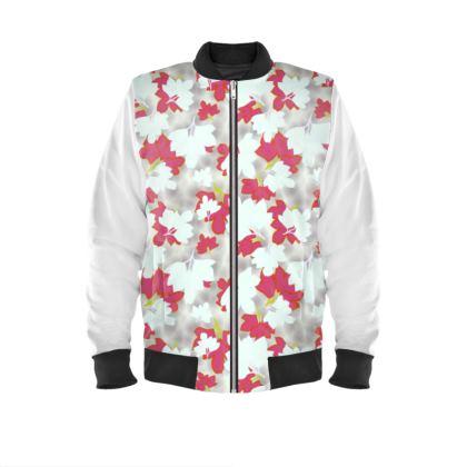 Mens Bomber Jacket  Oriental Leaves  Snowflake
