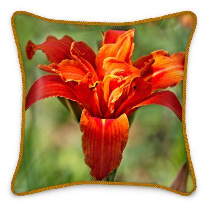 Silk Cushion Orange Day Lily