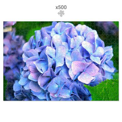 500 Piece Jigsaw Puzzle Blue Hydrangea