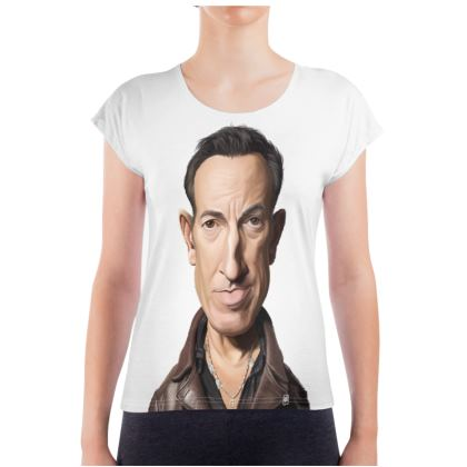 Bruce Springsteen Celebrity Caricature Ladies T Shirt