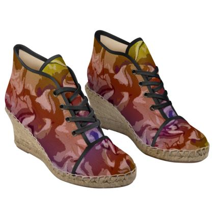 Ladies Wedge Espadrilles - Honeycomb Marble Abstract 6