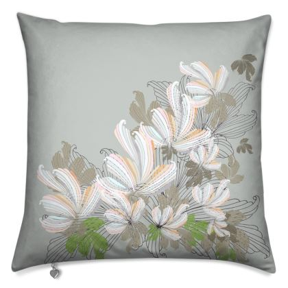 Luxury Cushion: Ornate scrolls and leaves on grey
