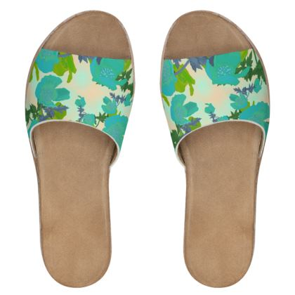 Womens Leather Sliders  Field Poppies  Pharaoh
